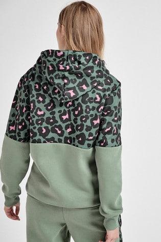 Khaki Animal Colourblock Hoody