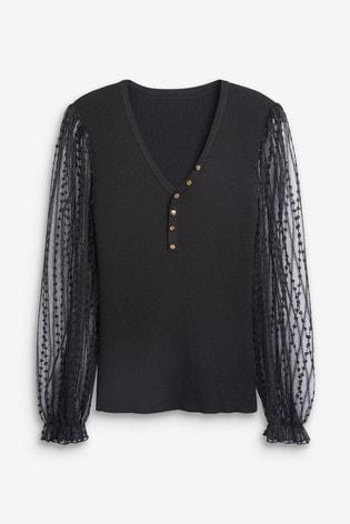 Black Woven Puff Sleeve Jumper