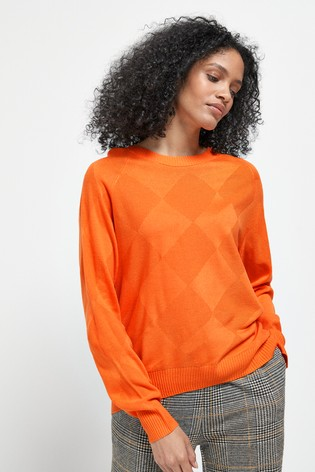 Orange Stitch Detail Cosy Jumper