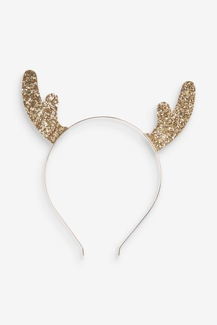 Gold Glitter Christmas Reindeer Antler Headband
