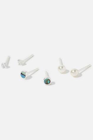 Accessorize Sterling Silver Seaside Stud Earrings Set