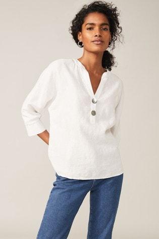Phase Eight White Maryema Linen Blouse