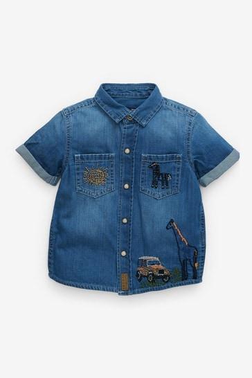 Embroidered Safari Short Sleeve Denim Shirt (3mths-7yrs)