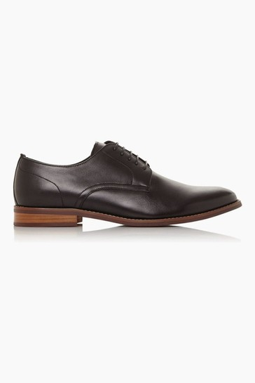 Dune London Suffolks Black Soft Leather Gibson Shoes