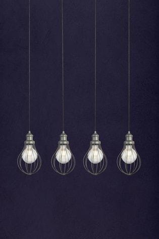 Searchlight Silver Cassia Cage 4 Light Pendant