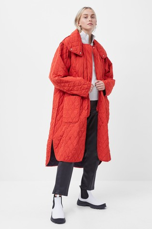 French Connection Red Aris Quilt Reversible Coat