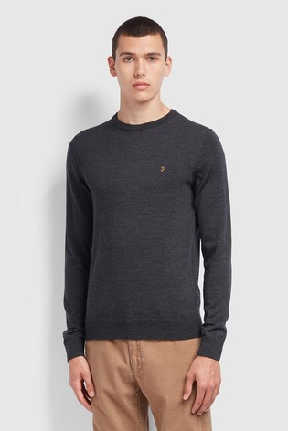 Farah Grey Mullen Wool Crew Sweater