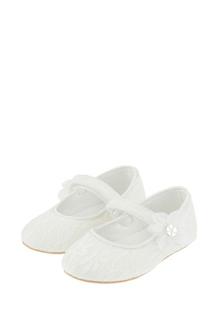 Monsoon Ivory Baby Tiana Shimmer Lace Corsage Walker Shoes