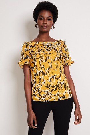 Damsel In A Dress Yellow Consta Frill Print Blouse