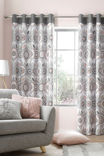 Annika Retro Floral Lined Eyelet Curtains by Catherine Lansfield