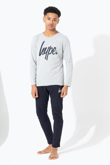 Hype. Grey With Black Script Kids Pyjama Set