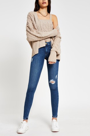 River Island Mid Wash Molly Mid Rise Ripped Jeans