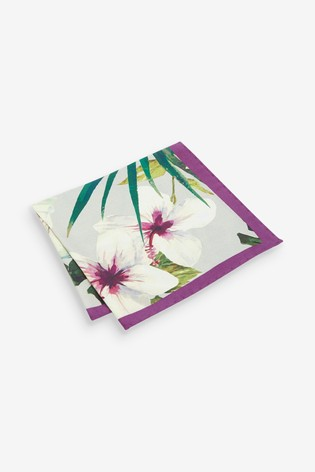 Green/Purple Signature Floral 'Made in Italy' Pocket Square