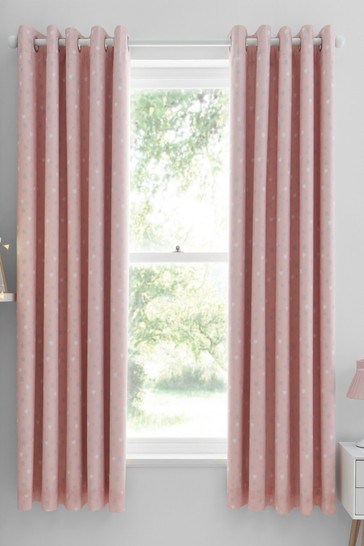 Catherine Lansfield Pink Make A Wish Eyelet Blackout Curtains