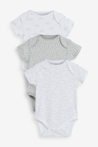 Grey 3 Pack Short Sleeve Bodysuits (0mths-3yrs)