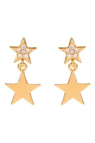 Mint Velvet Rose Gold Plated Pave Star Earrings