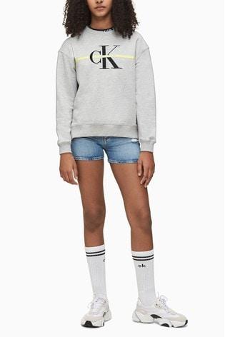 Calvin Klein Blue Straight Destructed Denim Shorts