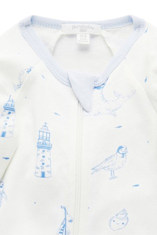 Purebaby Blue Summer Holidays Organic Cotton Zip Sleepsuit
