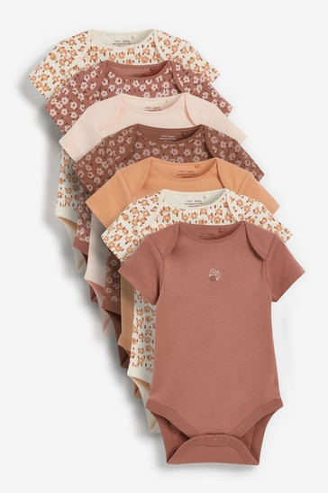 Tan Floral 7 Pack Short Sleeve Bodysuits (0mths-3yrs)