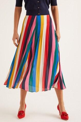 Boden Red Fairfax Pleated Skirt