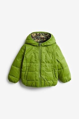 Benetton Green Camouflage Reversible Jacket