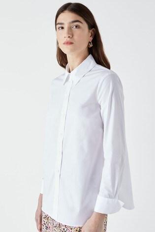 Finery Dillon White Poplin Shirt