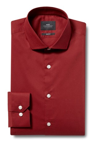 Moss London Skinny Fit Rust Single Cuff Stretch Shirt