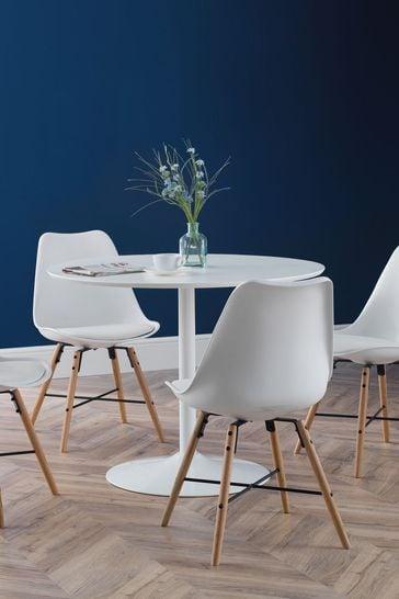 Set of 2 Kari White Dining Chairs by Julian Bowen