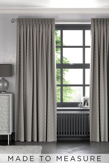 Dawson Geo Grey Made To Measure Curtains