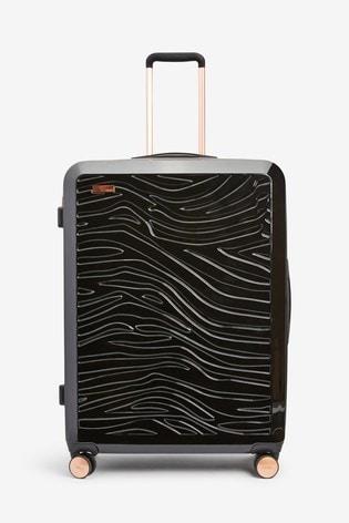 Black Large Zebra Embossed Hard Shell Suitcase