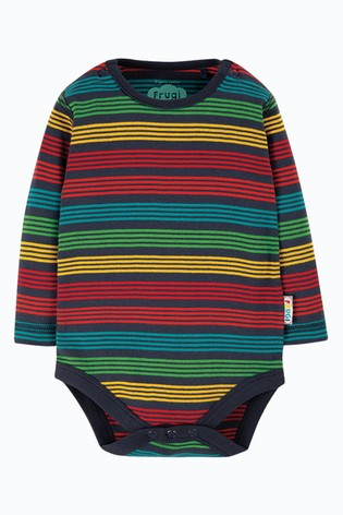 Frugi Blue GOTS Organic Long Sleeve Rainbow Stripe Bodysuit