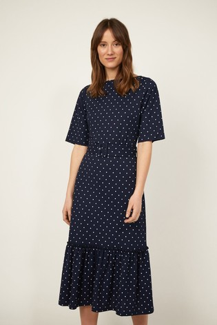 Warehouse Blue Pique Spot Midi Tiered Dress