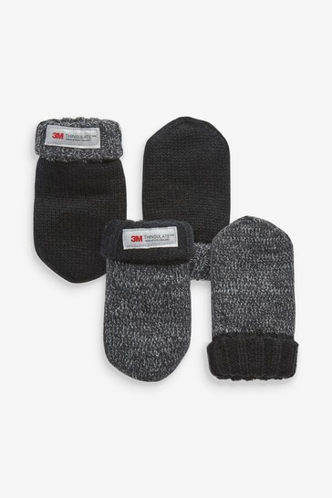 Charcoal 2 Pack Thinsulate™ Mittens (3mths-6yrs)