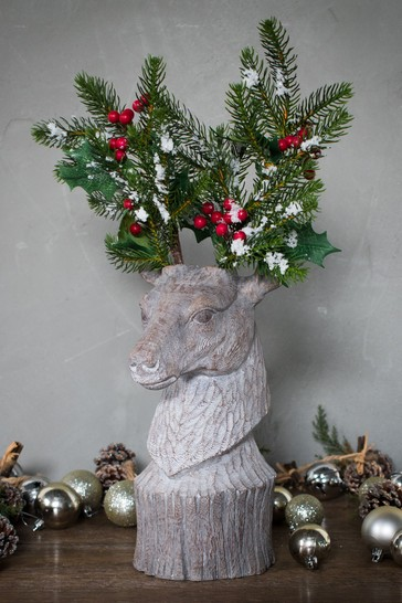 Gallery Direct Decorative Deer with Festive Sprig Antlers