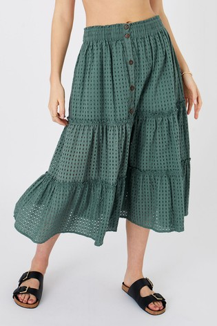 Accessorize Green Tiered Broderie Skirt