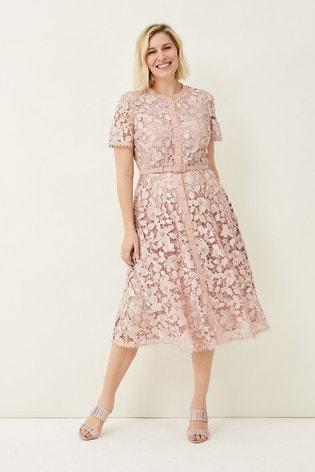 Phase Eight Pink Samana Lace Shirt Dress