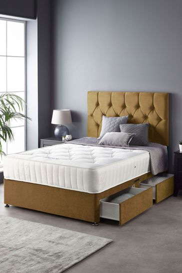 Catherine Lansfield Boutique Divan Set With Ortho Pocket Mattress Ochre