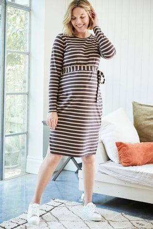 Camel Maternity Belted Stripe Jersey Dress