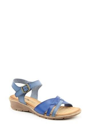 Heavenly Feet Iris Ladies Blue Low-Wedge Sandals