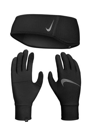 Nike Black Headband And Gloves Set