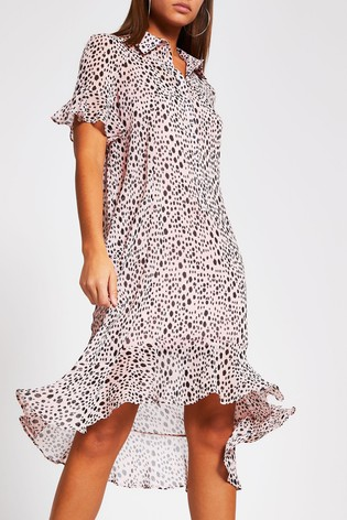 River Island Pink Medium Frill Midi Shirt Dress