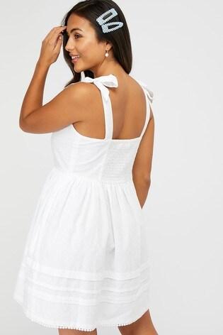 Accessorize White Button Pleat White Dress