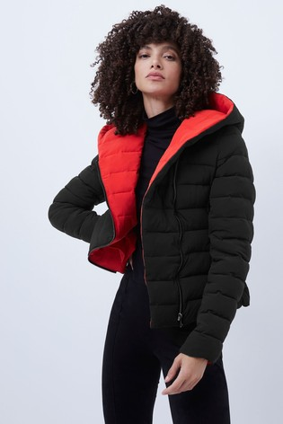 French Connection Black Iola Puffer Coat