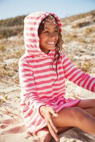 Pink Stripe Towelling Dress
