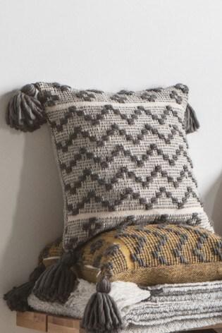 Gallery Direct Lattice Weave Zig Zag Tassel Cushion
