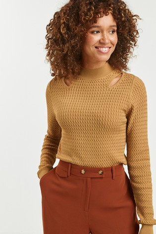 Camel Cut Out Cable Jumper
