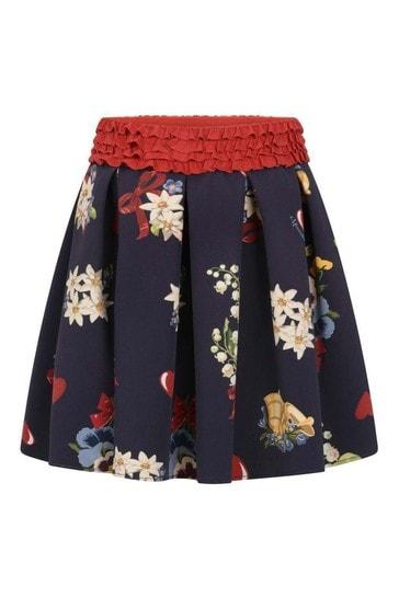 Girls Navy Floral Print Skirt