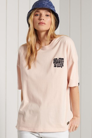 Superdry Brown Military Narrative Boxy T-Shirt