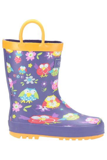 Puddle Play Childrens Girls Owl Printed Waterproof Easy-On Rubber Rain Boots / Toddler//Little Kids