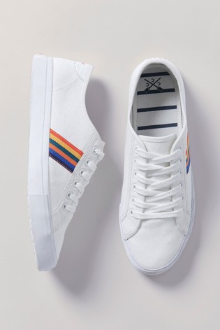 Crew Clothing White Canvas Trainers